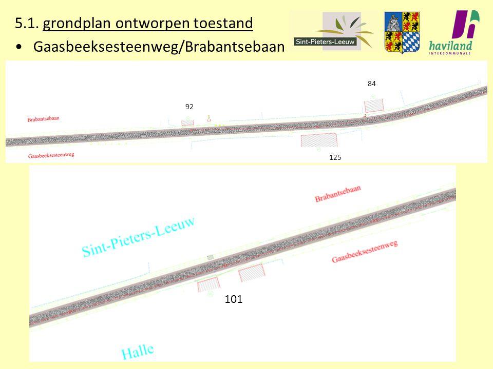 5.1. grondplan ontworpen toestand Gaasbeeksesteenweg/Brabantsebaan 92 84 125 101