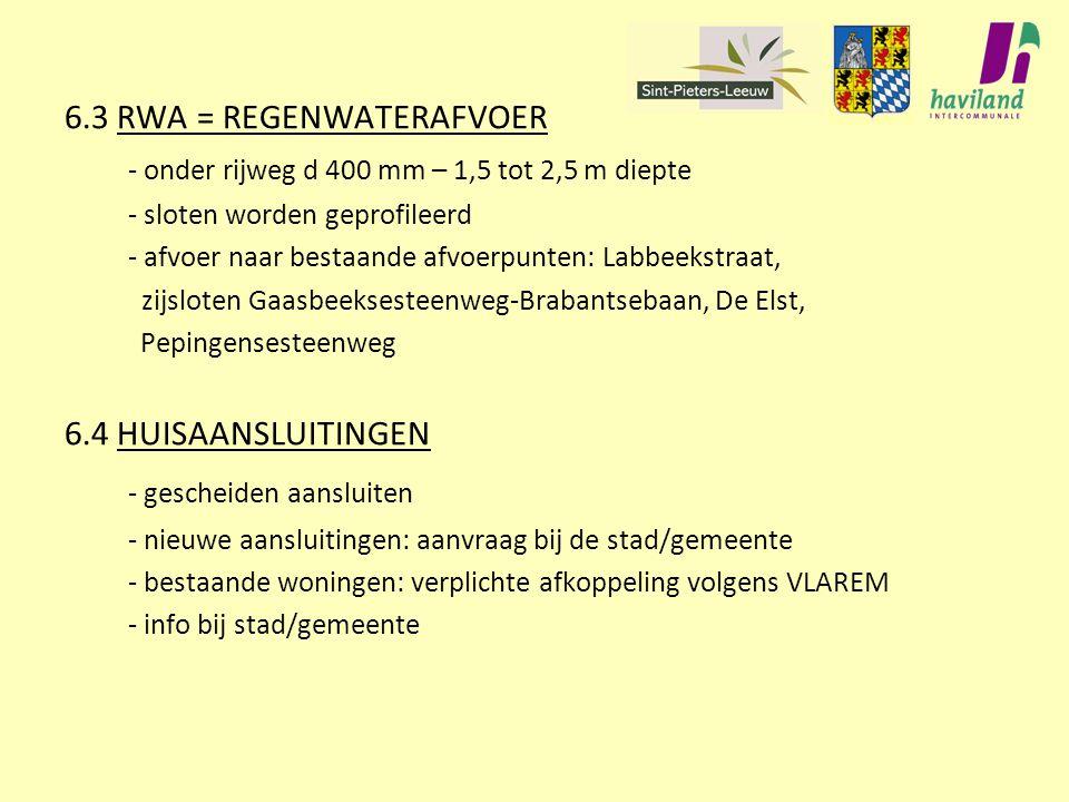 6.3 RWA = REGENWATERAFVOER - onder rijweg d 400 mm – 1,5 tot 2,5 m diepte - sloten worden geprofileerd - afvoer naar bestaande afvoerpunten: Labbeekst