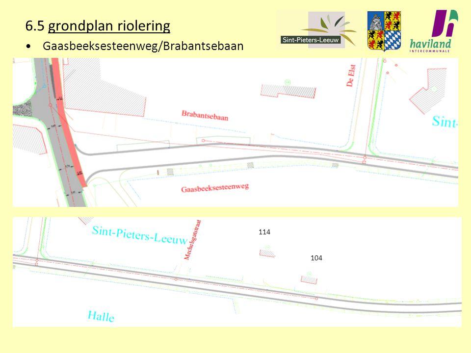 6.5 grondplan riolering Gaasbeeksesteenweg/Brabantsebaan 114 104
