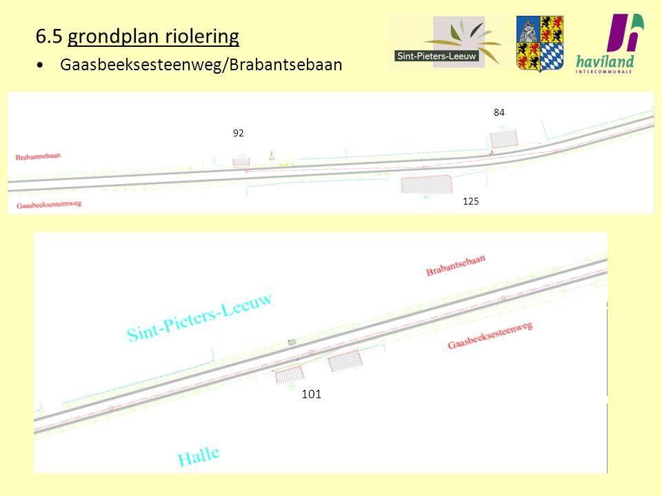 6.5 grondplan riolering Gaasbeeksesteenweg/Brabantsebaan 92 84 101 125