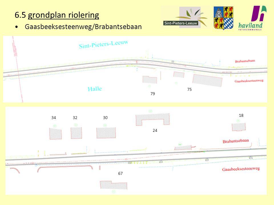 6.5 grondplan riolering Gaasbeeksesteenweg/Brabantsebaan 79 75 343230 24 18 67