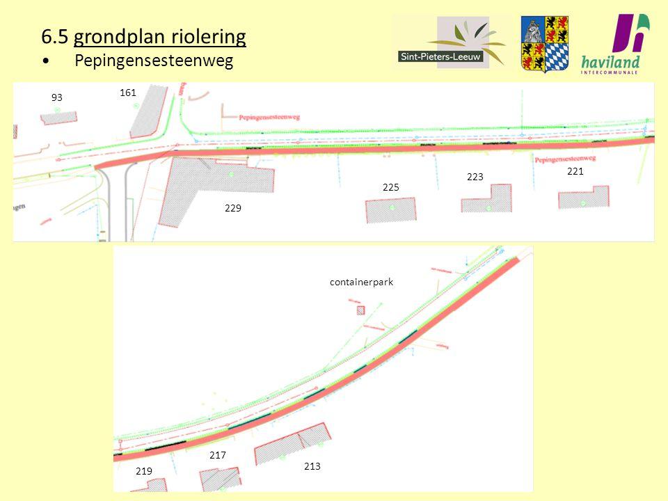 6.5 grondplan riolering Pepingensesteenweg 93 161 229 225 223 221 219 217 213 containerpark