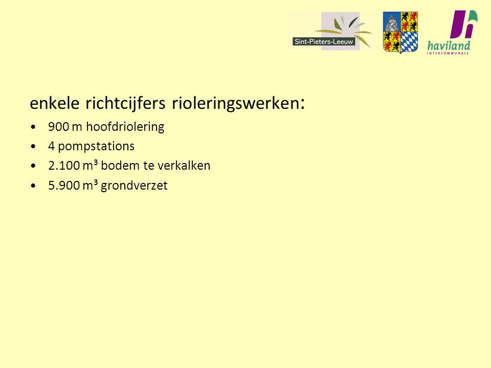 enkele richtcijfers rioleringswerken : 900 m hoofdriolering 4 pompstations 2.100 m³ bodem te verkalken 5.900 m³ grondverzet