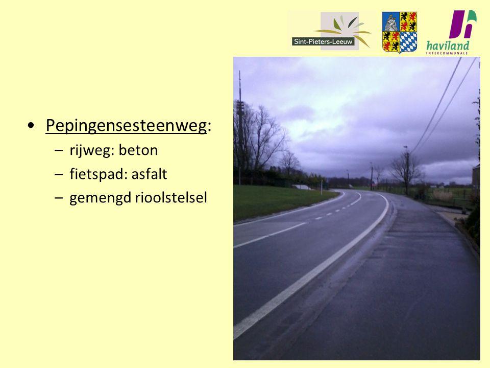 Pepingensesteenweg: –rijweg: beton –fietspad: asfalt –gemengd rioolstelsel