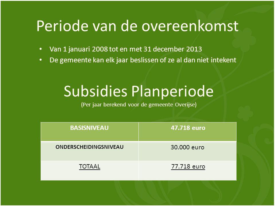 Periode van de overeenkomst Van 1 januari 2008 tot en met 31 december 2013 De gemeente kan elk jaar beslissen of ze al dan niet intekent Subsidies Planperiode (Per jaar berekend voor de gemeente Overijse) BASISNIVEAU 47.718 euro ONDERSCHEIDINGSNIVEAU 30.000 euro TOTAAL 77.718 euro