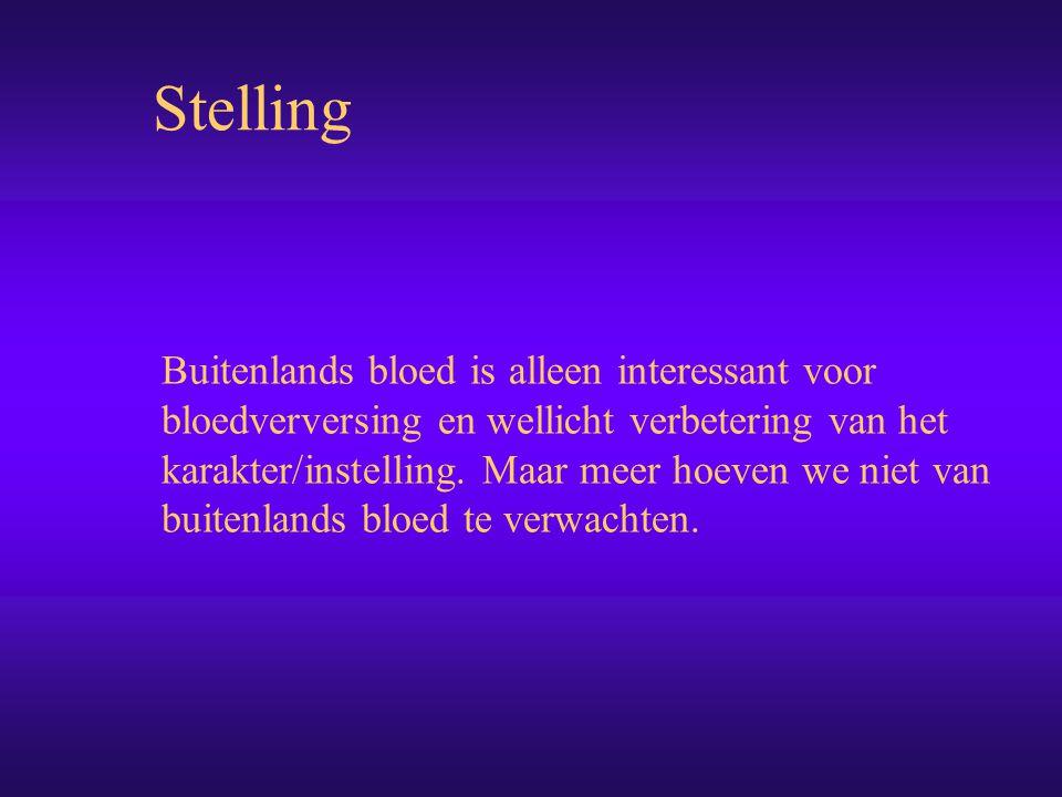 Buitenlands bloed is alleen interessant voor bloedverversing en wellicht verbetering van het karakter/instelling.