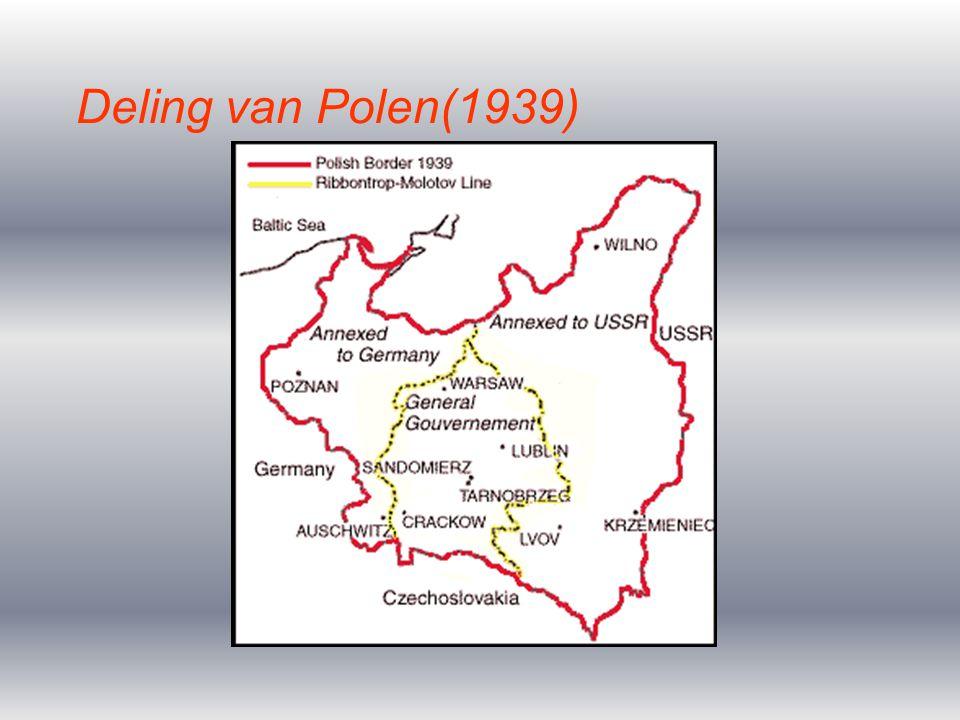 Polen zou worden verdeeld tussen Duitsland en SU (Lebensraum) Polen zou worden beschermd door Engeland indien het werd aangevallen 1 september 1939 aanval op Polen Sitzkrieg ontstaat