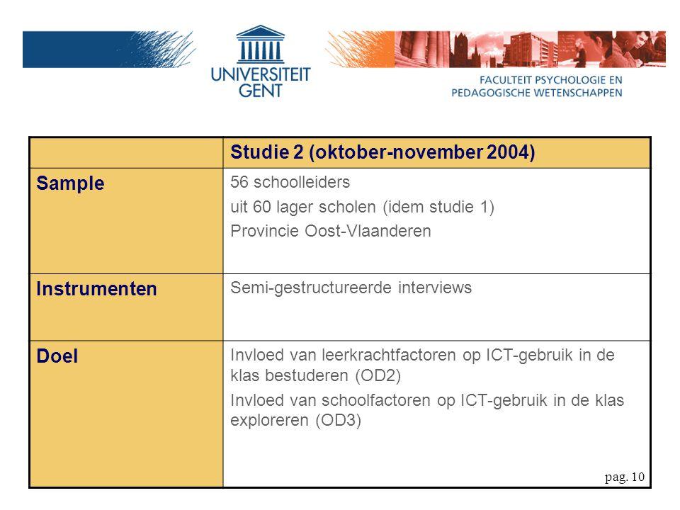 pag. 10 Studie 2 (oktober-november 2004) Sample 56 schoolleiders uit 60 lager scholen (idem studie 1) Provincie Oost-Vlaanderen Instrumenten Semi-gest