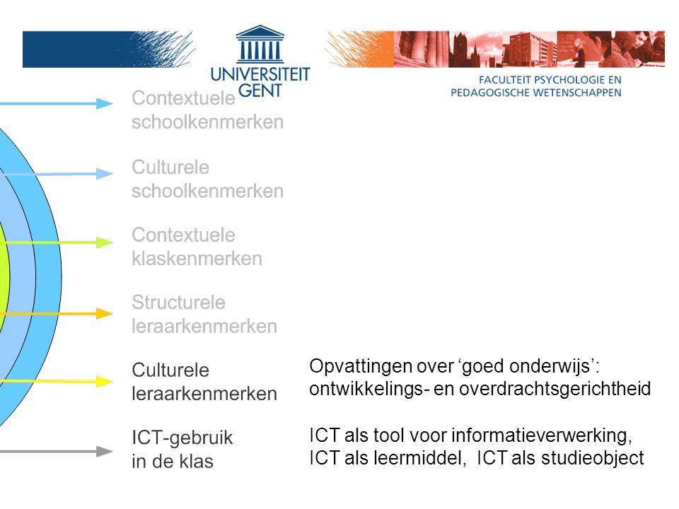 Opvattingen over 'goed onderwijs': ontwikkelings- en overdrachtsgerichtheid ICT als tool voor informatieverwerking, ICT als leermiddel, ICT als studieobject