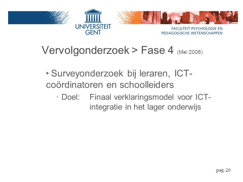 Vervolgonderzoek > Fase 4 (Mei 2006) ‣ Surveyonderzoek bij leraren, ICT- coördinatoren en schoolleiders ‧ Doel: Finaal verklaringsmodel voor ICT- integratie in het lager onderwijs pag.