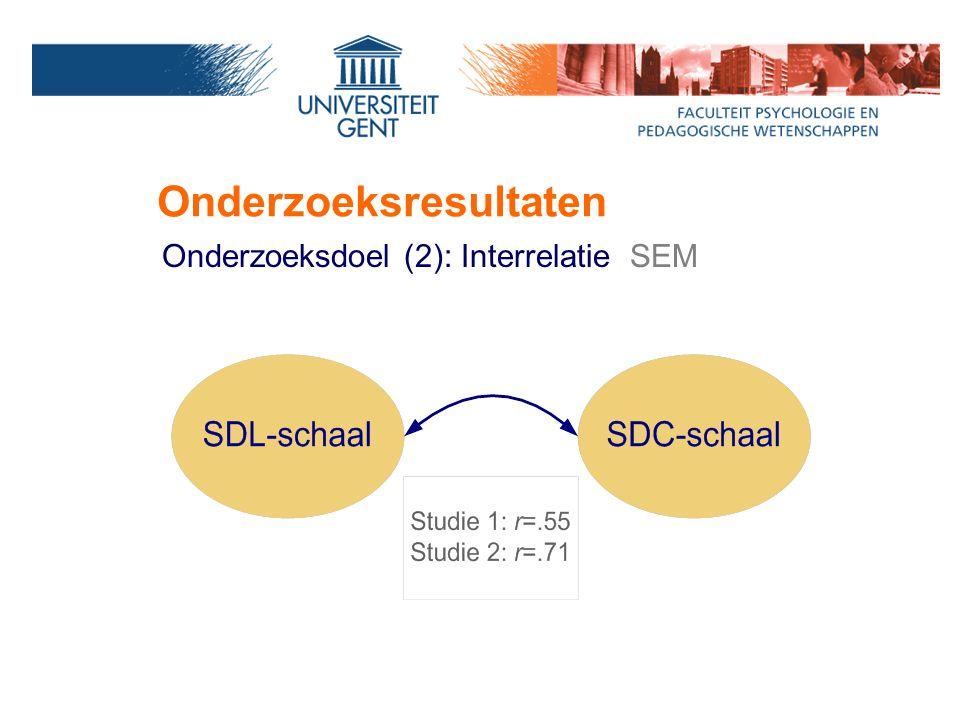 Onderzoeksresultaten Onderzoeksdoel (2): Interrelatie SEM