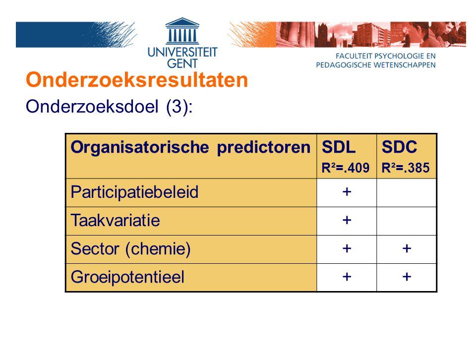 Onderzoeksresultaten Onderzoeksdoel (3): Organisatorische predictorenSDL R²=.409 SDC R²=.385 Participatiebeleid+ Taakvariatie+ Sector (chemie)++ Groei