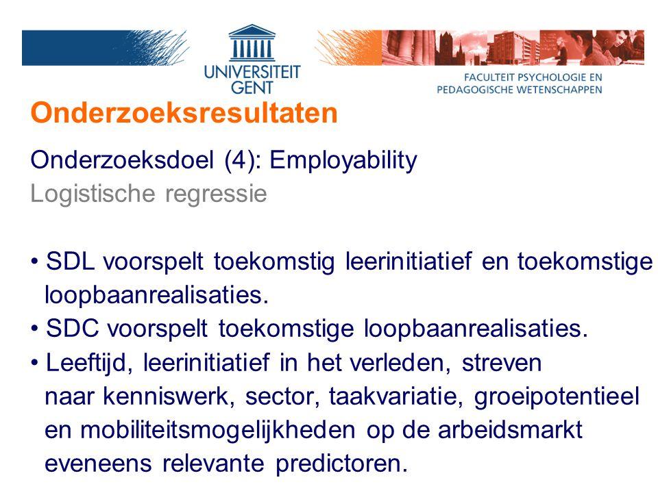 Onderzoeksresultaten Onderzoeksdoel (4): Employability Logistische regressie SDL voorspelt toekomstig leerinitiatief en toekomstige loopbaanrealisaties.