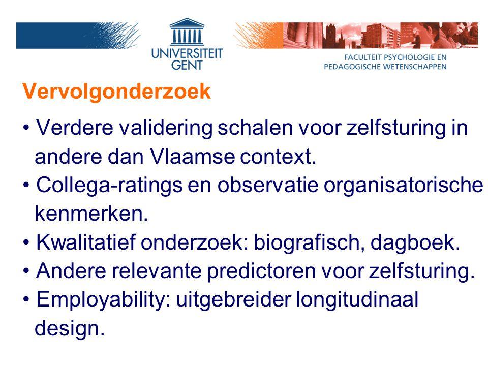 Vervolgonderzoek Verdere validering schalen voor zelfsturing in andere dan Vlaamse context. Collega-ratings en observatie organisatorische kenmerken.