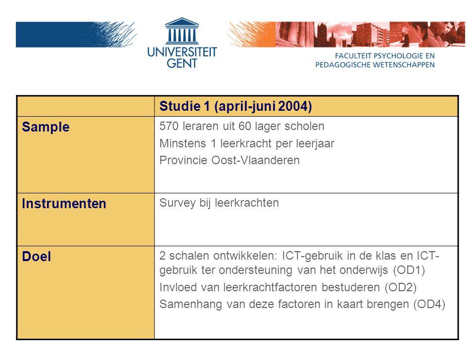 Studie 1 (april-juni 2004) Sample 570 leraren uit 60 lager scholen Minstens 1 leerkracht per leerjaar Provincie Oost-Vlaanderen Instrumenten Survey bij leerkrachten Doel 2 schalen ontwikkelen: ICT-gebruik in de klas en ICT- gebruik ter ondersteuning van het onderwijs (OD1) Invloed van leerkrachtfactoren bestuderen (OD2) Samenhang van deze factoren in kaart brengen (OD4)