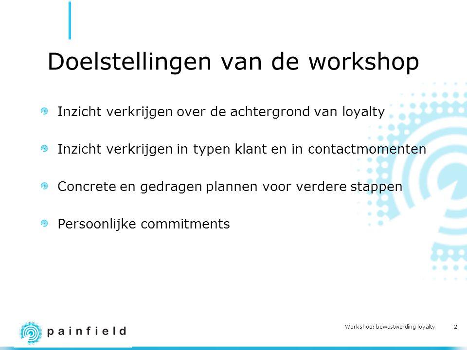2 Workshop: bewustwording loyalty Doelstellingen van de workshop Inzicht verkrijgen over de achtergrond van loyalty Inzicht verkrijgen in typen klant en in contactmomenten Concrete en gedragen plannen voor verdere stappen Persoonlijke commitments