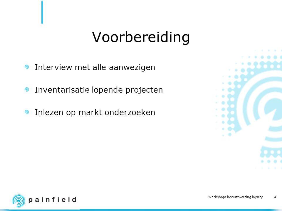 4 Workshop: bewustwording loyalty Voorbereiding Interview met alle aanwezigen Inventarisatie lopende projecten Inlezen op markt onderzoeken