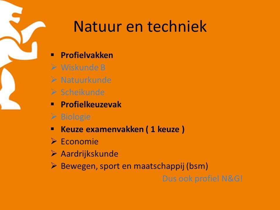 Natuur en techniek  Profielvakken  Wiskunde B  Natuurkunde  Scheikunde  Profielkeuzevak  Biologie  Keuze examenvakken ( 1 keuze )  Economie 