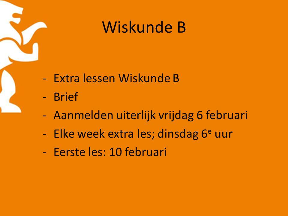 Wiskunde B -Extra lessen Wiskunde B -Brief -Aanmelden uiterlijk vrijdag 6 februari -Elke week extra les; dinsdag 6 e uur -Eerste les: 10 februari