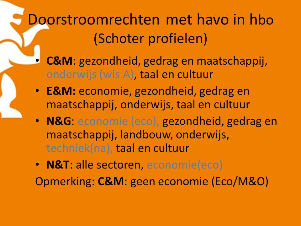 Doorstroomrechten met havo in h bo (Schoter profielen) C&M: gezondheid, gedrag en maatschappij, onderwijs (wis A), taal en cultuur E&M: economie, gezondheid, gedrag en maatschappij, onderwijs, taal en cultuur N&G: economie (eco), gezondheid, gedrag en maatschappij, landbouw, onderwijs, techniek(na), taal en cultuur N&T: alle sectoren, economie(eco) Opmerking: C&M: geen economie (Eco/M&O)