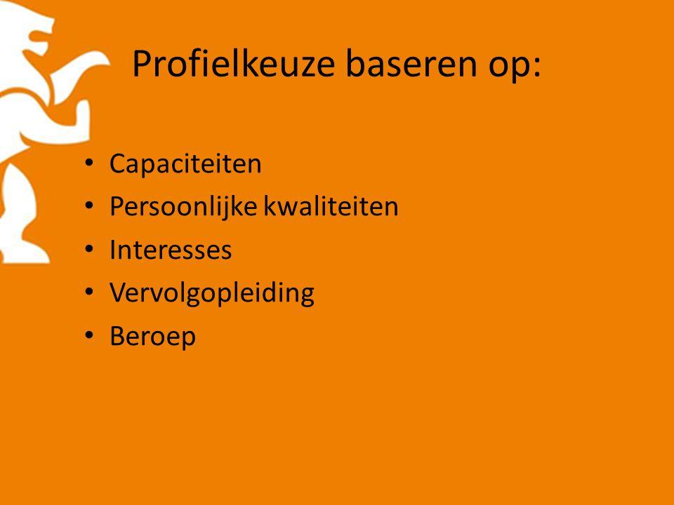 Profielkeuze baseren op: Capaciteiten Persoonlijke kwaliteiten Interesses Vervolgopleiding Beroep