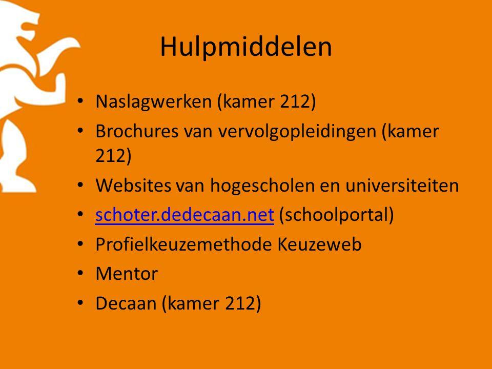 Hulpmiddelen Naslagwerken (kamer 212) Brochures van vervolgopleidingen (kamer 212) Websites van hogescholen en universiteiten schoter.dedecaan.net (schoolportal) schoter.dedecaan.net Profielkeuzemethode Keuzeweb Mentor Decaan (kamer 212)