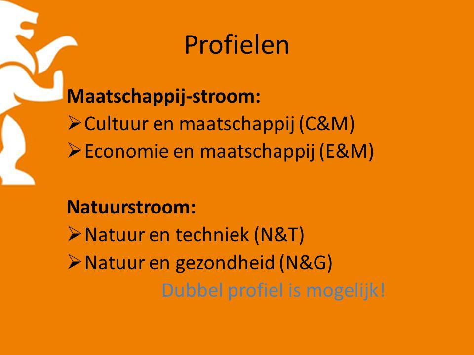 Profielen Maatschappij-stroom:  Cultuur en maatschappij (C&M)  Economie en maatschappij (E&M) Natuurstroom:  Natuur en techniek (N&T)  Natuur en gezondheid (N&G) Dubbel profiel is mogelijk!