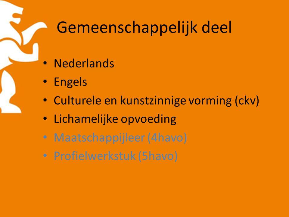 Gemeenschappelijk deel Nederlands Engels Culturele en kunstzinnige vorming (ckv) Lichamelijke opvoeding Maatschappijleer (4havo) Profielwerkstuk (5hav