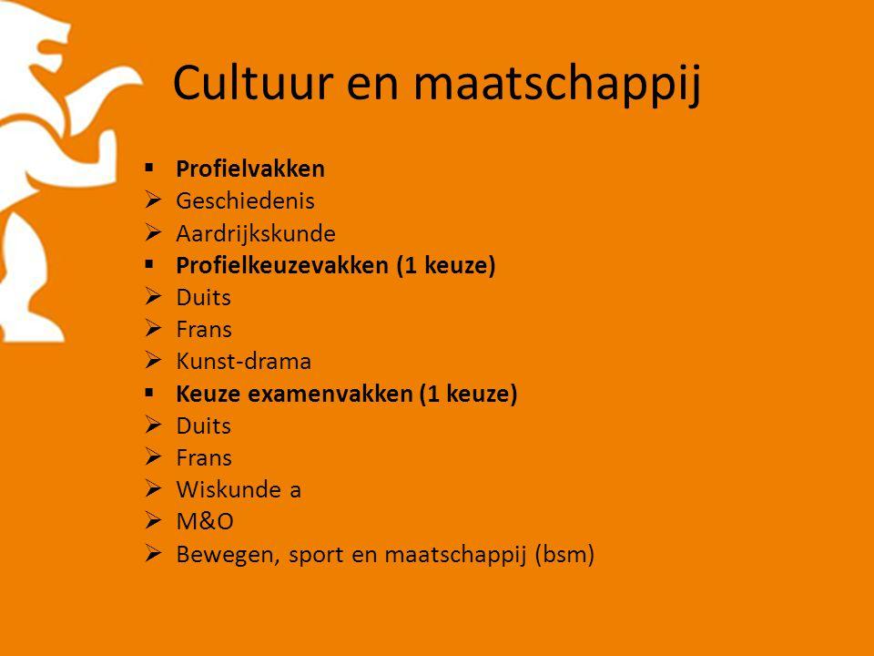 Cultuur en maatschappij  Profielvakken  Geschiedenis  Aardrijkskunde  Profielkeuzevakken (1 keuze)  Duits  Frans  Kunst-drama  Keuze examenvak