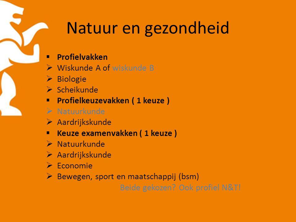Natuur en gezondheid  Profielvakken  Wiskunde A of wiskunde B  Biologie  Scheikunde  Profielkeuzevakken ( 1 keuze )  Natuurkunde  Aardrijkskund