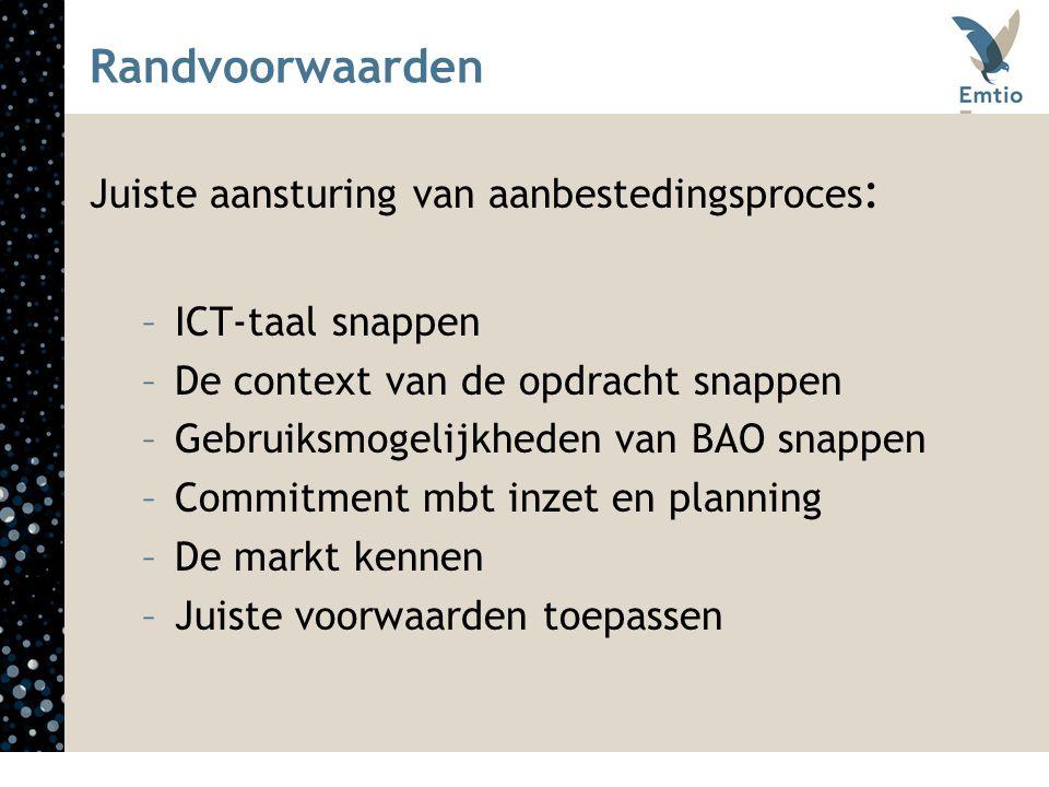 Randvoorwaarden Juiste aansturing van aanbestedingsproces : –ICT-taal snappen –De context van de opdracht snappen –Gebruiksmogelijkheden van BAO snapp