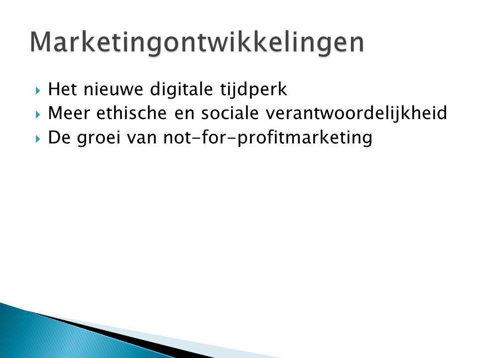  Het nieuwe digitale tijdperk  Meer ethische en sociale verantwoordelijkheid  De groei van not-for-profitmarketing