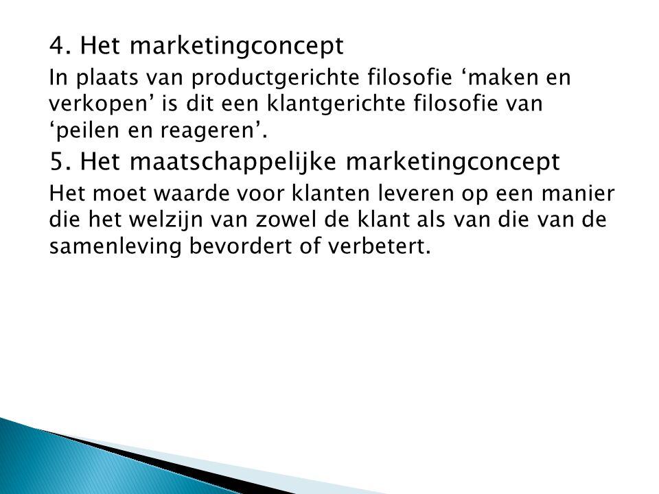 4. Het marketingconcept In plaats van productgerichte filosofie 'maken en verkopen' is dit een klantgerichte filosofie van 'peilen en reageren'. 5. He