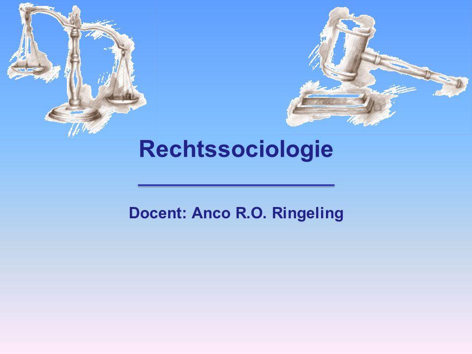 Rechtssociologie Docent: Anco R.O. Ringeling