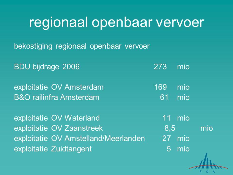 bekostiging regionaal openbaar vervoer BDU bijdrage 2006273 mio exploitatie OV Amsterdam 169 mio B&O railinfra Amsterdam 61 mio exploitatie OV Waterla
