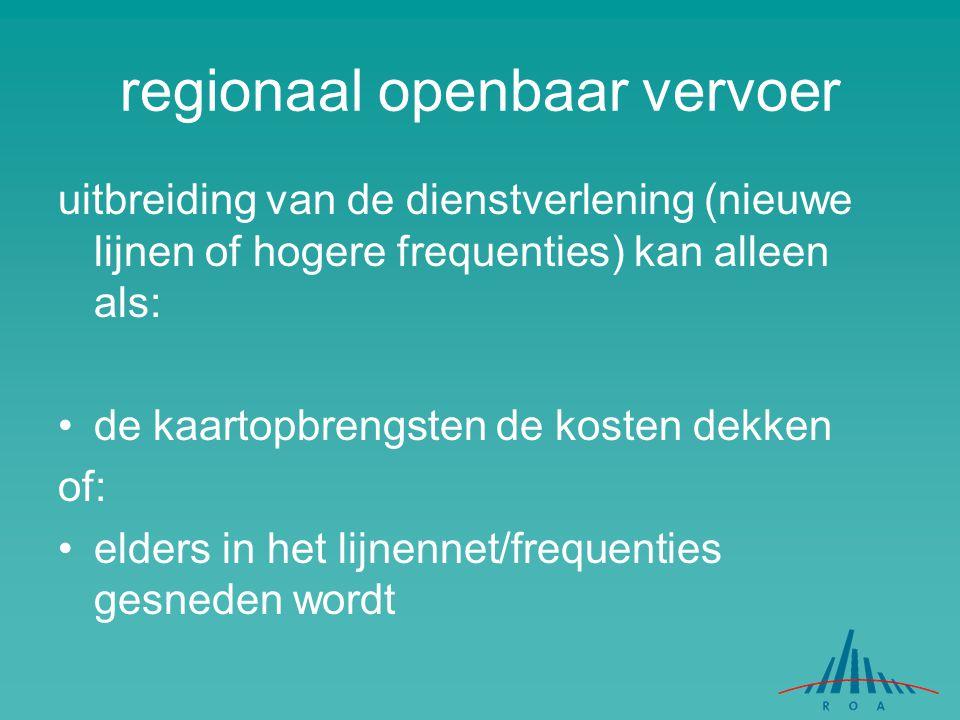 regionaal openbaar vervoer uitbreiding van de dienstverlening (nieuwe lijnen of hogere frequenties) kan alleen als: de kaartopbrengsten de kosten dekk