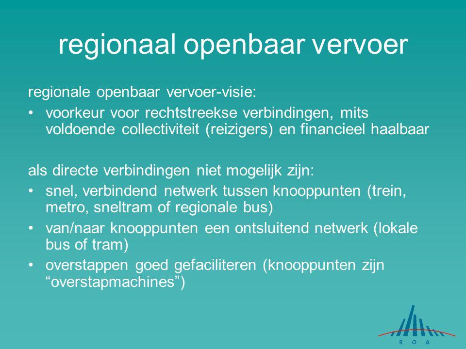 regionaal openbaar vervoer regionale openbaar vervoer-visie: voorkeur voor rechtstreekse verbindingen, mits voldoende collectiviteit (reizigers) en fi