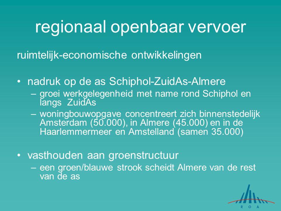regionaal openbaar vervoer ruimtelijk-economische ontwikkelingen nadruk op de as Schiphol-ZuidAs-Almere –groei werkgelegenheid met name rond Schiphol