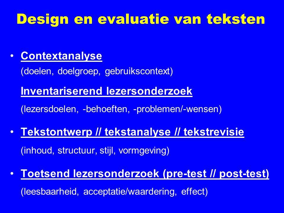 Design en evaluatie van teksten Contextanalyse (doelen, doelgroep, gebruikscontext) Inventariserend lezersonderzoek (lezersdoelen, -behoeften, -problemen/-wensen) Tekstontwerp // tekstanalyse // tekstrevisie (inhoud, structuur, stijl, vormgeving) Toetsend lezersonderzoek (pre-test // post-test) (leesbaarheid, acceptatie/waardering, effect)