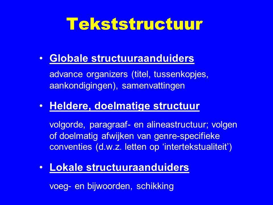 Tekststructuur Globale structuuraanduiders advance organizers (titel, tussenkopjes, aankondigingen), samenvattingen Heldere, doelmatige structuur volgorde, paragraaf- en alineastructuur; volgen of doelmatig afwijken van genre-specifieke conventies (d.w.z.