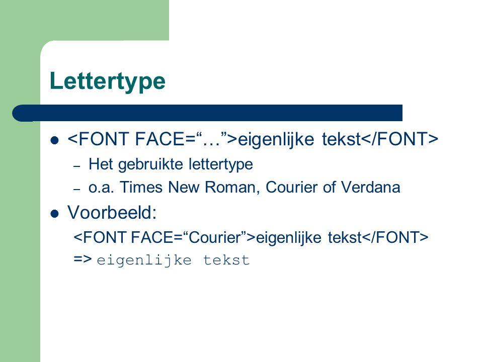 Lettertype eigenlijke tekst – Het gebruikte lettertype – o.a.