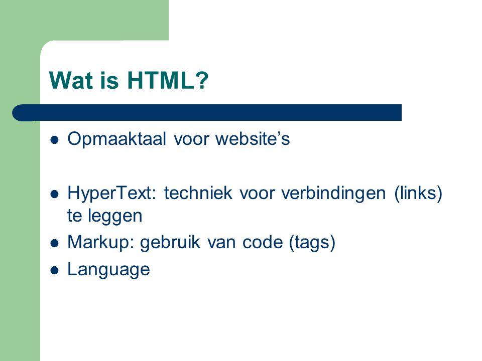 Vaste opbouw Het simpelste HTML-document Hier komt de eigenlijke tekst