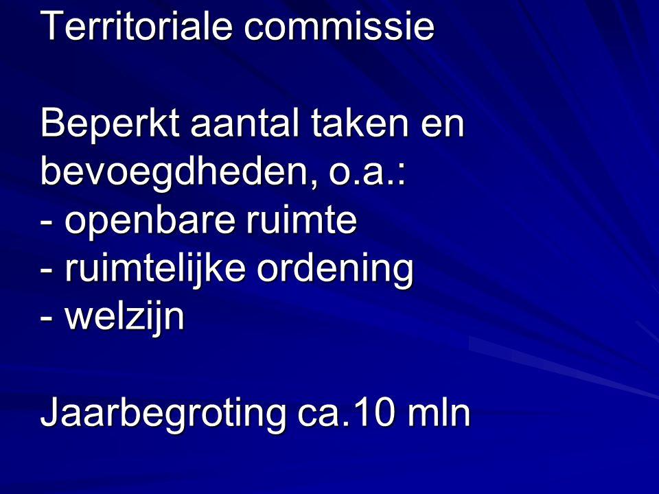 Territoriale commissie Beperkt aantal taken en bevoegdheden, o.a.: - openbare ruimte - ruimtelijke ordening - welzijn Jaarbegroting ca.10 mln
