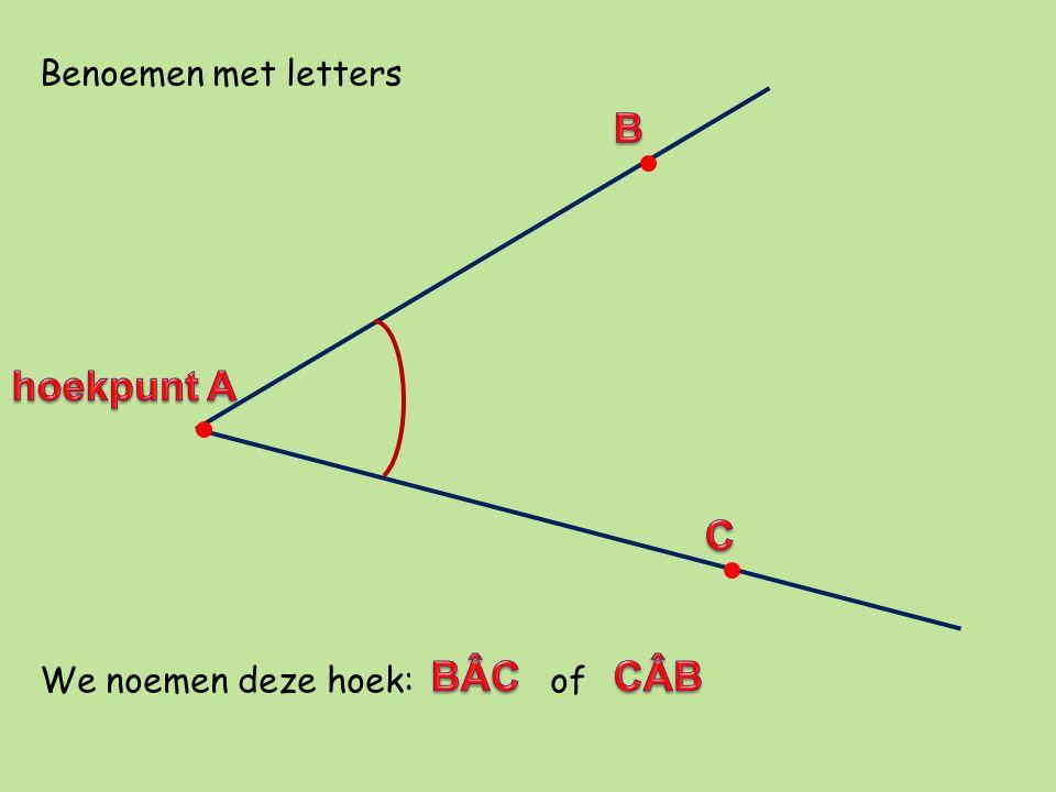 Benoemen met letters We noemen deze hoek: of