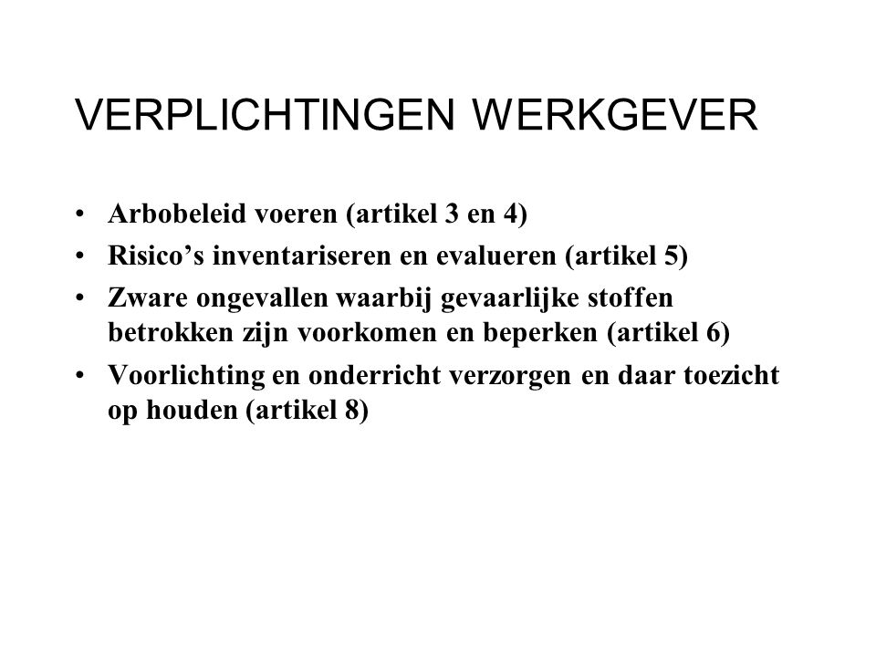 INSTRUMENTEN ARBEIDSINSPECTIE Eis tot naleving stellen (artikel 27) Werk stilleggen (artikel 28) Boeterapport opmaken (artikel 36) Proces-verbaal opmaken (artikel 46)
