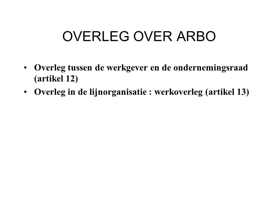 OVERLEG OVER ARBO Overleg tussen de werkgever en de ondernemingsraad (artikel 12) Overleg in de lijnorganisatie : werkoverleg (artikel 13)