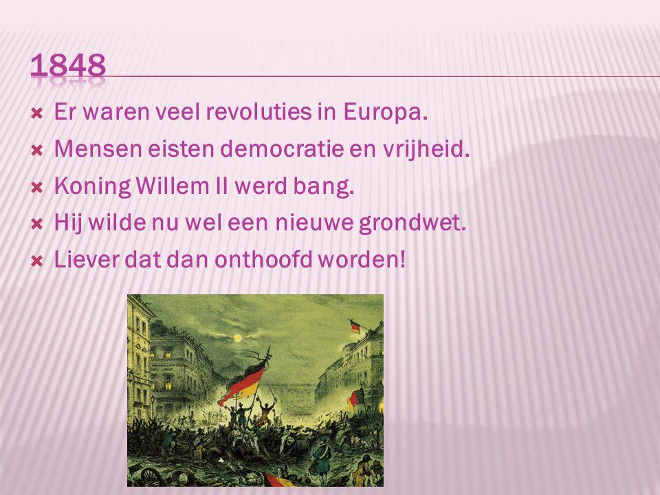  Er waren veel revoluties in Europa.  Mensen eisten democratie en vrijheid.  Koning Willem II werd bang.  Hij wilde nu wel een nieuwe grondwet. 