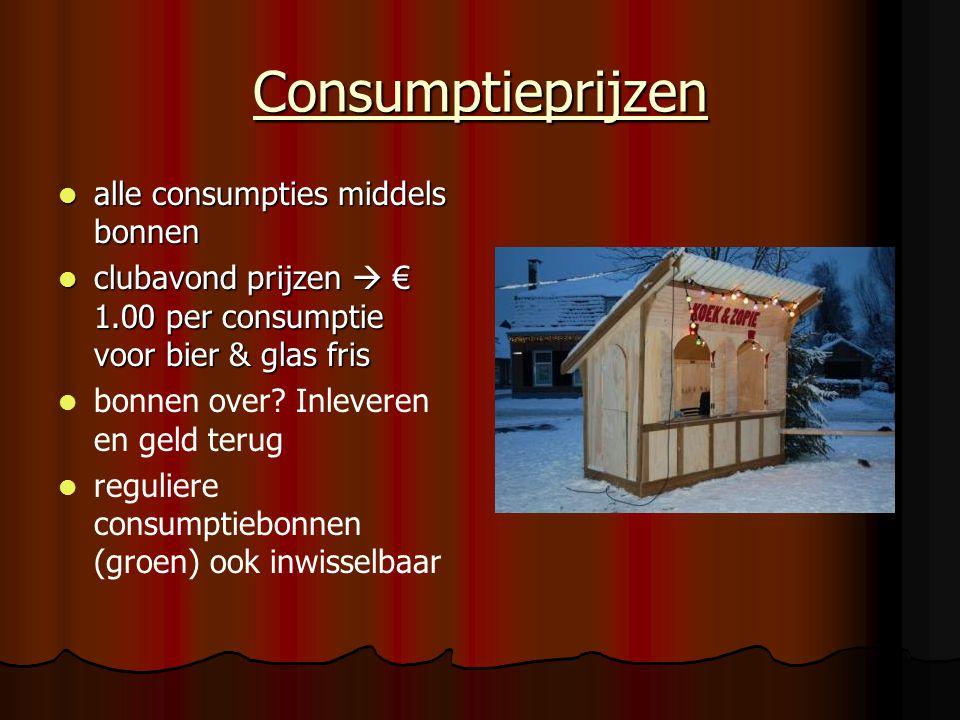 Consumptieprijzen alle consumpties middels bonnen alle consumpties middels bonnen clubavond prijzen  € 1.00 per consumptie voor bier & glas fris club