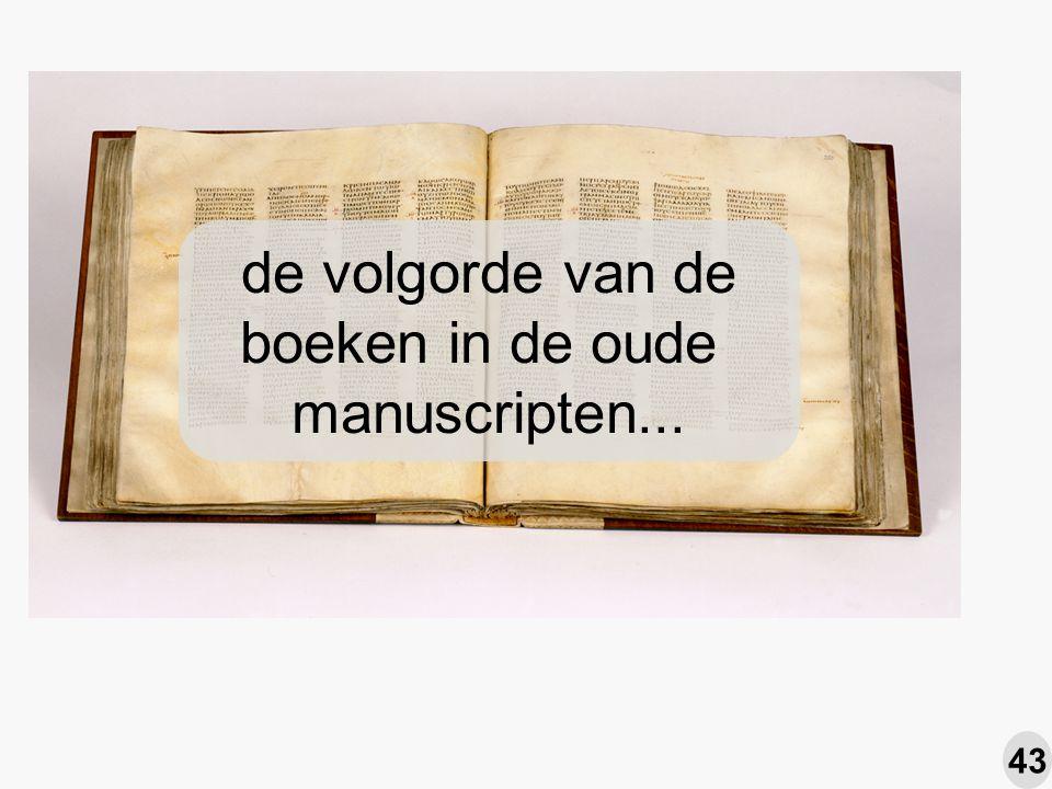 de volgorde van de boeken in de oude manuscripten... 43