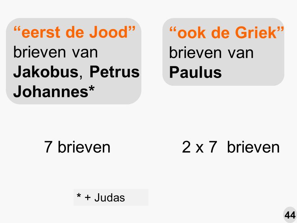 eerst de Jood brieven van Jakobus, Petrus Johannes* ook de Griek brieven van Paulus * + Judas 7 brieven2 x 7 brieven 44